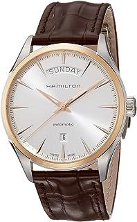 Hamilton 男式 'Jazzmaster' 瑞士自动金色皮革休闲手表,颜色:棕色(型号:H42525551)