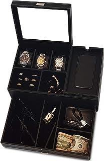 Amiglo 男士梳妆台代客收纳包,带充电站,床头柜抽屉托盘,珠宝配件手表盒,碳纤维设计,PU 皮革(奢华黑色)