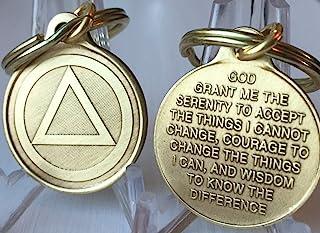 圆形三角 AA 钥匙链 2.54 cm 青铜色匿名酒精钥匙扣吊坠