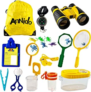 户外探险套装,儿童探险套装,带玩具双筒望远镜、指南针、放大玻璃、昆虫陷阱和收集套件,蝴蝶网。