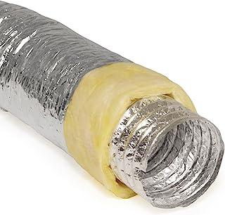铝制软管弹性绝缘/非绝缘空气管道用于刚性 HVAC Flex Ductowrk 绝缘 - 25' 长 R-4.2 Yellow 7 Inch - 25' Feet 7SFLX