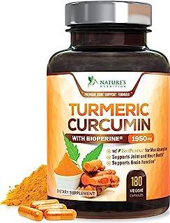 Nature's Nutrition 姜黄素 含有黑胡椒萃取物 95%姜黄素类 1950mg 含黑胡椒 具有好的吸收效果,美国制造,姜黄补充剂片-180胶囊
