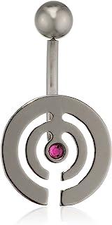 Pure Grey 中性香蕉叉德国制造肚脐穿孔钛锆石紫色明亮切割 - 珠宝Eternitybells 14 FU