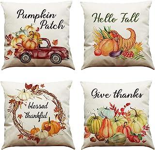 MIUINCY 秋季枕套 45.72 x 45.72 厘米,Hello Fall Pumpkin Farmhouse 主题秋季枕套感恩节抱枕枕套 4 件套适用于家庭沙发沙发沙发秋季装饰