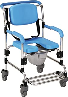 Homecraft 海洋轮式淋浴躺椅,带轮和内置马桶的加垫淋浴座椅,淋浴椅和马桶,洗澡、老年人、停车和有限机动性