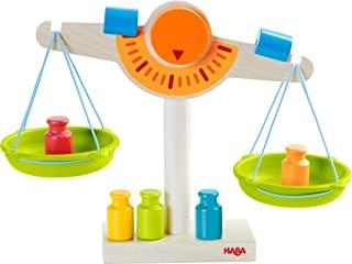 HABA 302639 玩具商店秤 木制/带两个塑料秤盘,5个秤砣和2个平衡配重,适用于3岁以上儿童