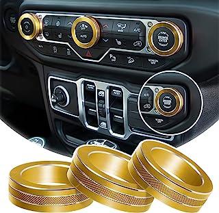 铝合金内饰配件空调开关旋钮环盖装饰盖适用于 2018-2021 吉普牧马人 JL JLU 和 Jeep 角斗士(金色)