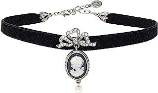 Ben-Amun Jewelry Mod 维多利亚时代酒红色天鹅绒和施华洛世奇水晶颈链