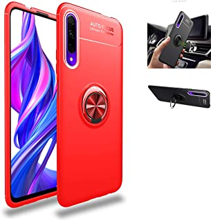Huawei 华为 Y9s 手机壳,360° 旋转环支架保护套,硅胶软 TPU 防震保护薄壳兼容[磁性车载支架]适用于华为 Y9s/华为 P Smart Pro 保护套(红色/红色)