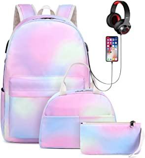 Goodking 彩虹少女学生背包,女孩轻质防水背包,带午餐袋和铅笔盒