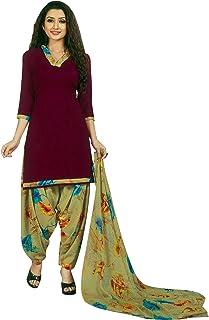 ladyline 女式即穿Salwar Kameez 人造绉纱印花印度缝制纱丽西装 Maroon (33) XXL_(46)