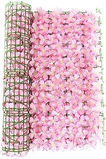 LKEREJOL 隐私屏幕人造花格子架可扩展围栏隐私屏幕人造绿篱人造常春藤格子篱笆边框花园围栏婚礼装饰(粉色,尺寸:299.74 x 50.80 厘米)