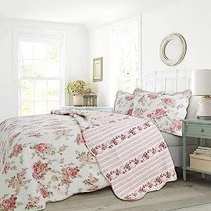 Cozy Line 家居时尚雏菊田床上用品被子套装,粉红色白色花卉刺绣真实拼接 * 纯棉双面被单床罩,女孩礼物 Spring Peony Queen - 3 piece