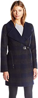 Dolce Vita 女式 Ingrid 长款羊毛外套带人造革皮带装饰