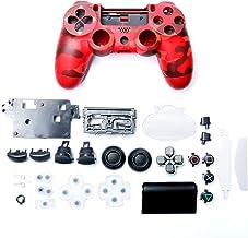 塑料游戏控制器外壳盖带按钮替换套装适合 Playstation 4 Slim JDM-040,迷彩红色