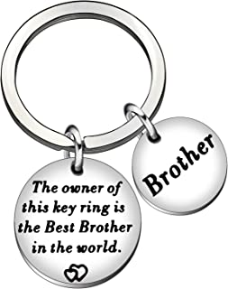 YONGHUI 不锈钢男士钥匙链 钥匙圈 The Owner Of This Key Ring Is The Best Brother 银生日 圣诞礼物 银色