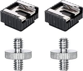 QYXINC 标准闪光热鞋安装适配器带 0.64 厘米至 0.64 厘米公螺纹螺丝适配器双头螺柱转换器,适用于灯架、闪光支架、伞架、单脚架、球头,2 件装