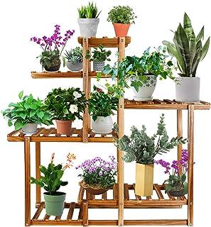 Baodan 木质植物架 室内室外花架 多层花盆架 花园植物支架 稳定转角植物支架 适用于室内家居客厅 庭院