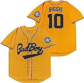 男式 #10 Biggie Smalls Bad Boy 90S 嘻哈短袖黑白臭名昭著的棒球运动衫