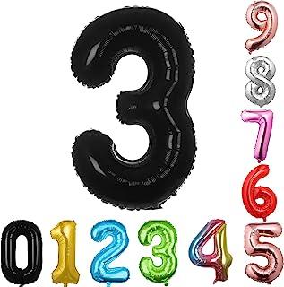 40 英寸大数字气球黑色气球巨型氦气球 数字 0 1 2 3 4 5 6 7 8 9 生日周年纪念派对婴儿淋浴婚礼装饰节日气球(黑色3)