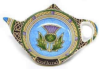 带蓝色蓟的苏格兰茶包支架 - 苏格兰茶壶形状休息盒茶托 - 采用新骨瓷茶瓷器配件直径 4 英寸/10 厘米