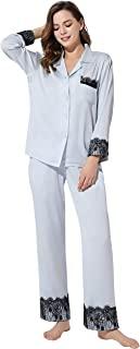 PRODESIGN 女式蕾丝睡衣套装棉质长袖睡衣系扣睡衣长裤 2 件套休闲睡衣套装