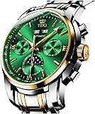 TDO 男式自动机械手表自动上弦无电池不锈钢表带豪华月相夜光防水腕表