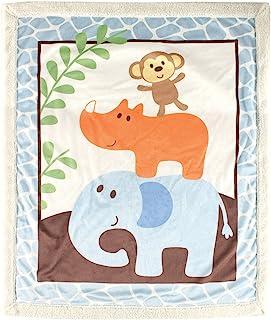 Luvable Friends 羊羔绒毯 Blue Safari 30 X 36 Inches
