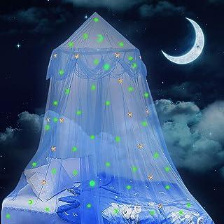 Lamdgbway 床罩 适合女孩在黑暗中发光的星星和月亮公主蚊帐婴儿床挂帐篷礼物儿童生日卧室装饰(蓝色,65 厘米/26 英寸)