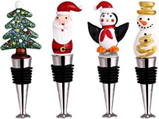 WAYTOSUC 4 件装圣诞葡萄酒饮料瓶塞礼品套装,圣诞可重复使用瓶盖密封器散装婚礼礼品生日葡萄酒圣诞节装饰(4,多塞)