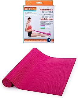 Bodico 防滑瑜伽垫和锻炼阻力带套装适用于健身,粉色