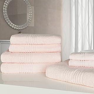 highams 奢华粉色软7件手工浴巾捆套 埃及长绒棉550GSM