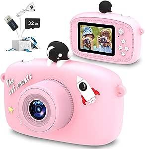 MOPEVIT 儿童相机,男孩/女孩儿童数码相机,卡通 2.0 英寸屏幕 40.0 万像素视频,32GB 存储卡,儿童玩具生日,圣诞节5-12 岁儿童(粉色)