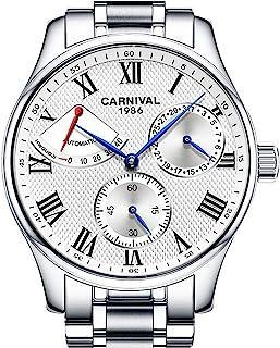 男式自动手表 Power Reserve 显示不锈钢手表防水瑞士男式腕表