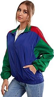 SweatyRocks 女式轻质拉链前立领风衣拼色运动夹克