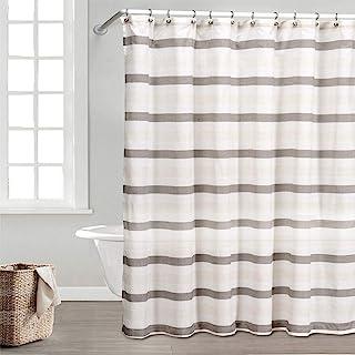 优雅亚麻条纹织物浴帘衬里防水 | 防水&水平条纹 | 棕色和米色,70x72 英寸