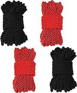 丝绸绳,32 英尺 8 毫米(1/3 英寸)编织扭绳丝绸绳,多用途绳索装饰扭结缎面闪亮绳索,适用于家庭十二月、DIY 工艺、户外和运动(4 件,黑色和红色)