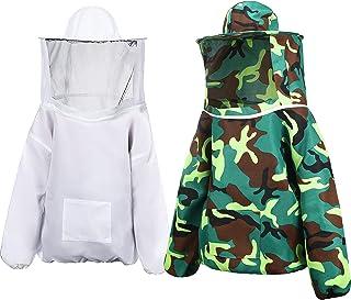 Geyoga 2 件套养蜂夹克,带圆形面纱兜帽透气蜂夹克(白色,*迷彩)