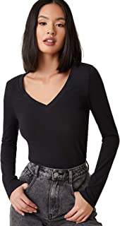 Floerns 女式基本款 V 领长袖 T 恤上衣,修身纯色 T 恤