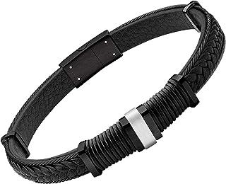 555Jewelry 不锈钢绞花电缆和真正的编织皮革手链