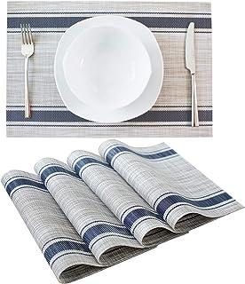 Dailinece 餐桌垫餐垫 厨房 可水洗耐热编织乙烯基防滑 PVC 4 件套(蓝色)
