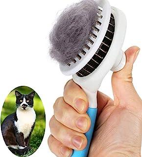 猫刷,自清洁滑块刷,用于脱落和梳理,可去除松散的底层,垫子和缠绕的毛发梳理梳子,适用于猫狗刷按摩 - 自清洁