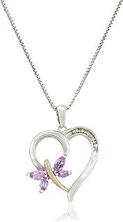 纯银和 14k 玫瑰金粉红蓝宝石和钻石吊坠项链,18 英寸