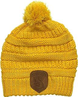 HARRY POTTER Hufflepuff 针织无檐小便帽,带仿皮徽章,均码,适合大多数黄色