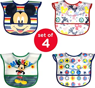 Disney Mickey Mouse Easy Wipe 幼儿围嘴,配有Crumb Catcher Mickey Mouse - 4 Pack