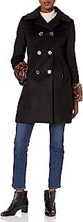 T Tahari 女式羊毛大衣,可拆卸豹纹袖口细节