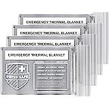 紧急聚酯热毯(4 件装) + 额外签名金色铝箔空间毯:专为 NASA 美国宇航局、户外、徒步、生存、马拉松或急救设计