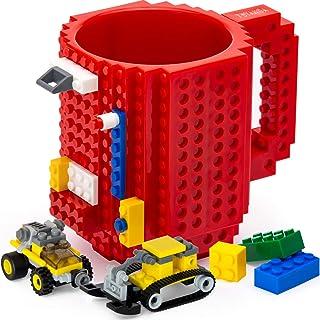 TOYAMBA Build-on Brick 马克杯 - 453.59 ml 不含 BPA 趣味咖啡杯 3 件装积木,儿童趣味杯 - 创意积木马克杯 DIY 礼物创意 红色 NCS-TMB-003