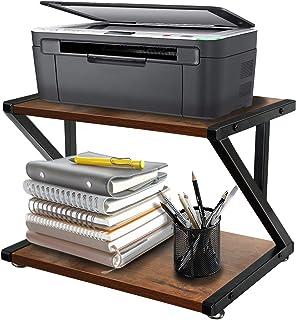 桌面打印机支架,带 2 层木质存储架,质朴打印机桌,多功能桌面收纳架,适用于传真机、扫描仪、文件、家庭打印机支架,带可调节防滑脚