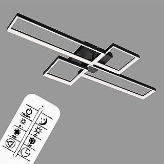 Briloner Leuchten - LED 吸顶灯,可调光吸顶灯,包括遥控器,色温控制,夜灯功能和定时器,黑色,40 W,4.400 流明,1100x420x120 毫米(长 x 宽 x 高),3014-015